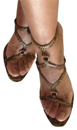 Carlos by Carlos Santana Strappy Metallic Metallic Hardware Brown Sandals