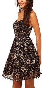ASOS Black Gold Lace Sweetheart Dress
