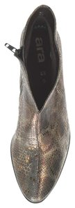Ara Snakeskin Pointed Toe Ankle Bronze Gray Boots