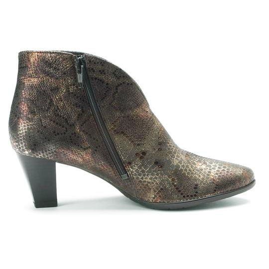 Ara Snakeskin Pointed Toe Ankle Brown Boots