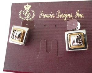 Premier Designs Rare Hard To Find Premier Designs Jewelry HIGHLANDS Clip-po Earrings Silver Gold