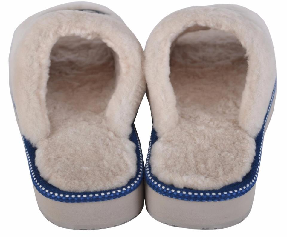 e91507d37ff Tory Burch White New Women s Natural Shearling Fur Logo Slide ...