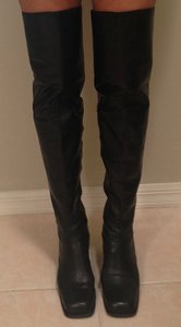 Michel Perry Thigh High Leather Knee High Black Boots