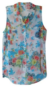 Ambiance Apparel Sleeveless Sheer Floral Print Top White