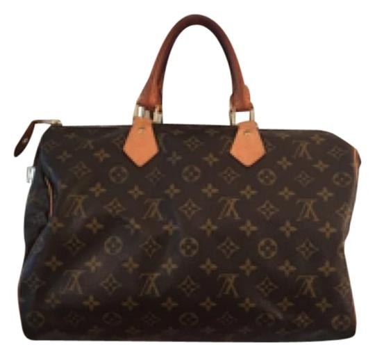 Preload https://item5.tradesy.com/images/louis-vuitton-speedy-35-monogram-coated-canvascowhide-leather-satchel-12901129-0-3.jpg?width=440&height=440
