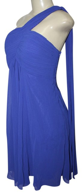 Item - Sapphire Blue With Tags Women's One Shoulder Ruffles Padded Bridesmaid Knee Length Night Out Dress Size 12 (L)