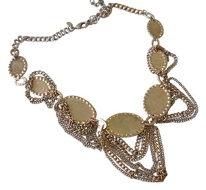 Chico's Chico's Statement Necklace Signed Antiqued Hammered Gold Tone Discs Multi Chain So Chic!!