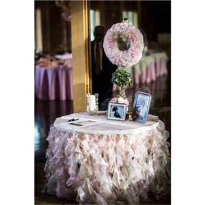 Ivory Pink Champagne Taupe Shimmering Spiral Table Skirt Tablecloth