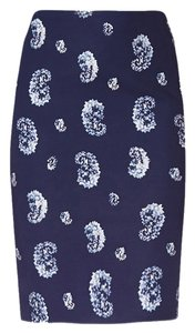 The Limited Blue Paisley Slim Skirt Navy print