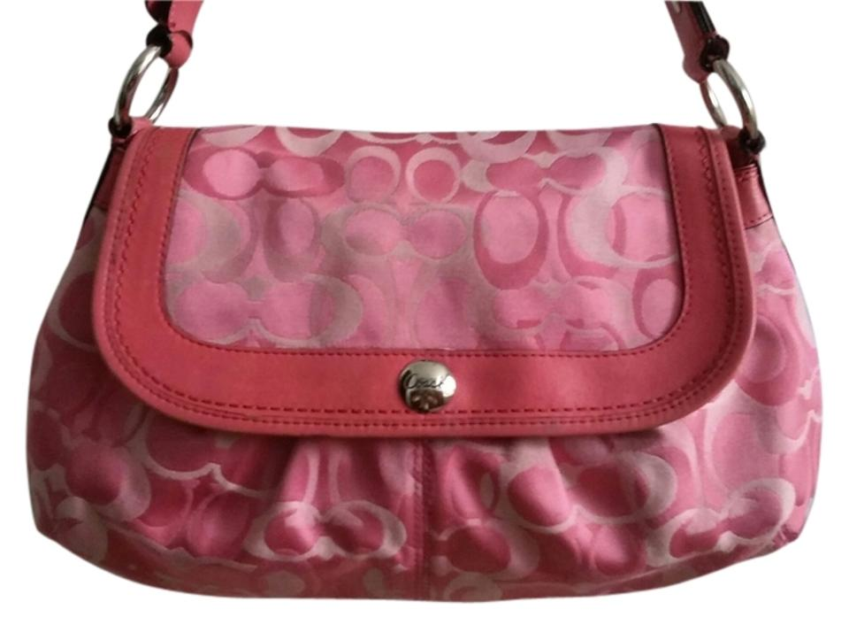 Coach Pink Canvas Satin and Leather Shoulder Bag - Tradesy 84cf9664b79f1