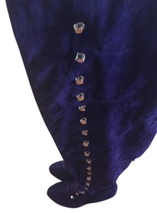 Other Suede Thigh High Stiletto Platform Womens Zipper Buckles Purple Boots