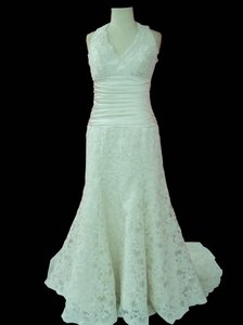 Custom Designed Halter Neckline Alencon Lace Dress Wedding Dress