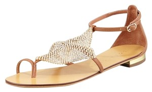 Lola Cruz Neiman Marcus Brown with Crystal Mesh Flats