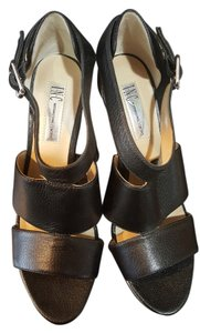 INC International Concepts Heels Strap Sexy Leather Black Wedges