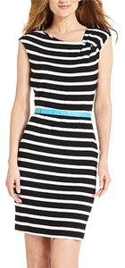 Calvin Klein short dress Black/White Striped Black White Belted Asymmetric Sleeveless on Tradesy