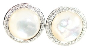 Ippolita IPPOLITA .925 Silver Mother of Pearl Diamond Scultura Mini Small Stud Earrings