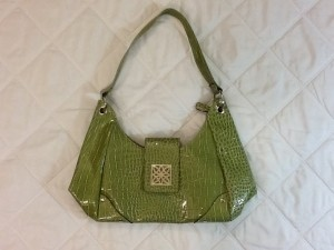Other Tote in GREEN with Silver accents