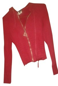 bebe Hooded Button Down Shirt RED