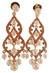 Gorgeous Gold Plated Chamagne Faux Pearl Chandelier Earrings