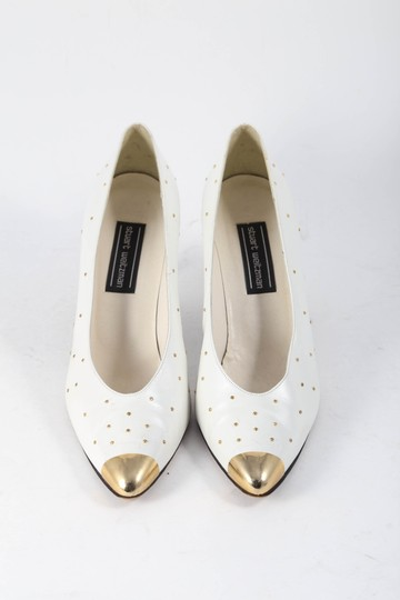 Stuart Weitzman Leather Gold Studs Gold Toe White Pumps Image 1