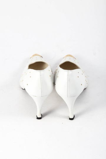 Stuart Weitzman Leather Gold Studs Gold Toe Pearl White Pumps
