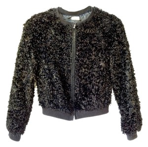 L'AGENCE Faux Fur Bomber black Jacket