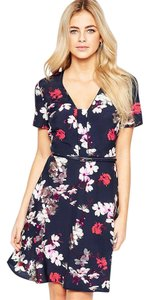 Oasis short dress Navy Floral Belted Flare on Tradesy