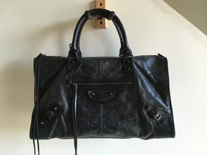 Balenciaga Gray Leather Large City Velo First Satchel in Black / Anthracite