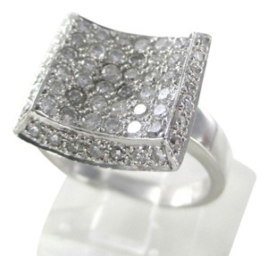 Other 18KT WHITE GOLD RING 64 GENUINE DIAMONDS 1 CARAT WEDDING BAND SQUARE DESIGN