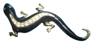 Avon Black/ Gold Gecko Pin w/ Clear Crystals