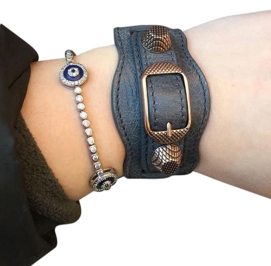 Preload https://img-static.tradesy.com/item/12905377/balenciaga-gray-arena-wide-leather-moto-cuff-rose-gold-hardware-small-s-rare-bracelet-0-2-540-540.jpg