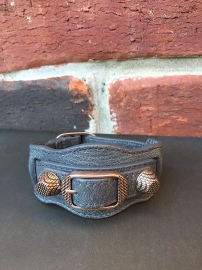 Balenciaga BALENCIAGA Arena Wide Gray Leather Moto Cuff Bracelet Rose Gold Hardware Small S RARE!