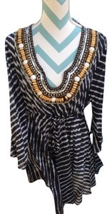 Boston Proper Hanky Embellished Cover Up Beaded Tunic