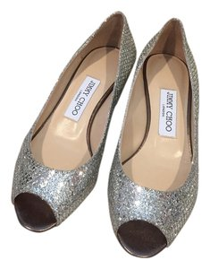 Jimmy Choo Peep Toe Pump Glitter Sparkle Silver Wedges