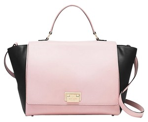 Kate Spade Leather Gold Hardware Magnolia Park Classy Summer Satchel in Posy Pink Black