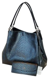 Coach Shoulder Tote in Metallic Gray/Black