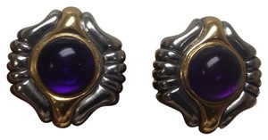 Replica Collection Gold and Silver toned clip on earrings, purple center bead