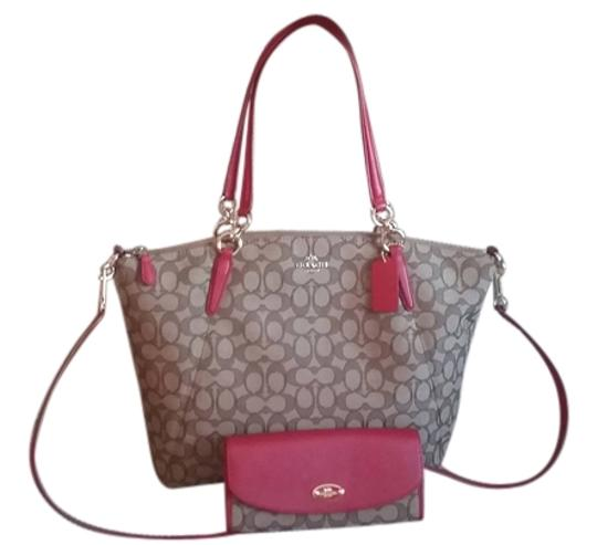 Preload https://img-static.tradesy.com/item/12906490/coach-signature-handbag-with-detachable-strap-and-wallet-set-khaki-brownred-leathercanvass-cross-bod-0-2-540-540.jpg