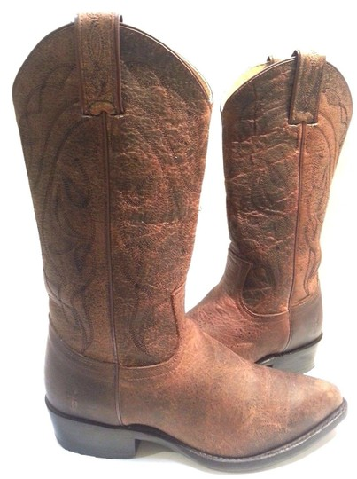 Frye Cracked Leather Style #76875 Leather Upper Made In Mexico Brown Boots