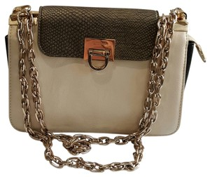 Ivanka Trump Leather Tan Cream Color-blocking Cross Body Bag