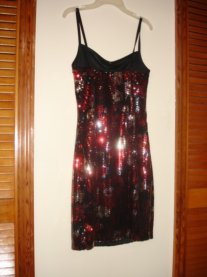 Red Black Silver Sequin Stretch Party Modern Bridesmaid/Mob Dress Size 8 (M) Image 1
