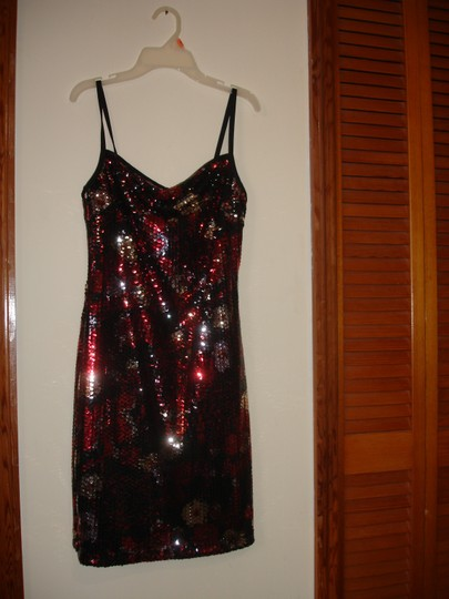 Red Black Silver Sequin Stretch Party Modern Bridesmaid/Mob Dress Size 8 (M) Image 2