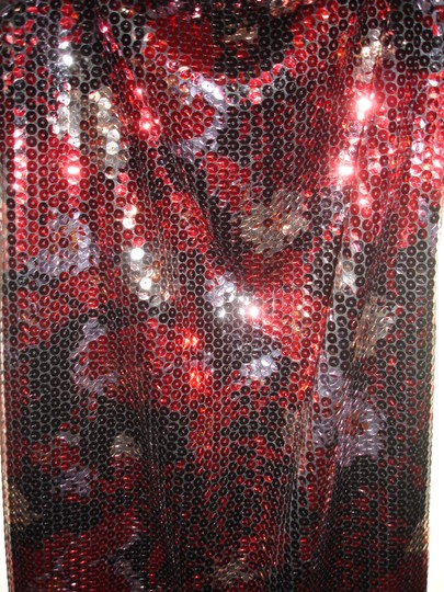 Red Black Silver Sequin Stretch Party Modern Bridesmaid/Mob Dress Size 8 (M) Image 4