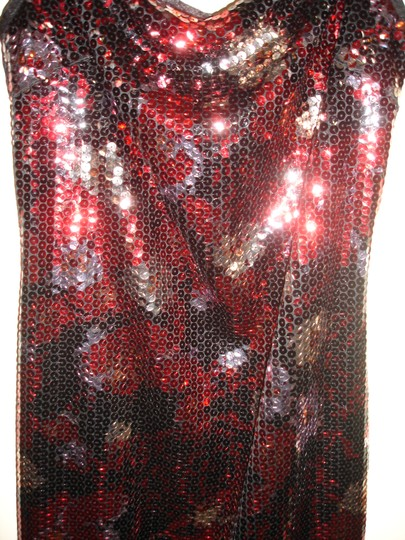 Red Black Silver Sequin Stretch Party Modern Bridesmaid/Mob Dress Size 8 (M) Image 5
