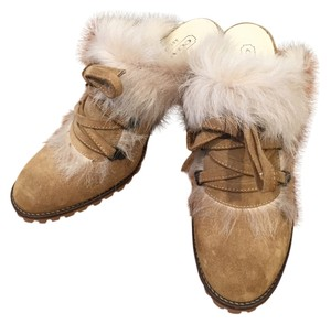 Coach Shearling Leather Fur Mule Camel Tan Mules