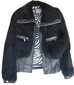 juliet Michelle Black with zebra lining Leather Jacket