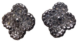 Replica Collection Clip on earrings, silver toned with rhinestones