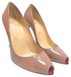 Christian Louboutin Mini Peep-toe Patent Leather Nude Pumps