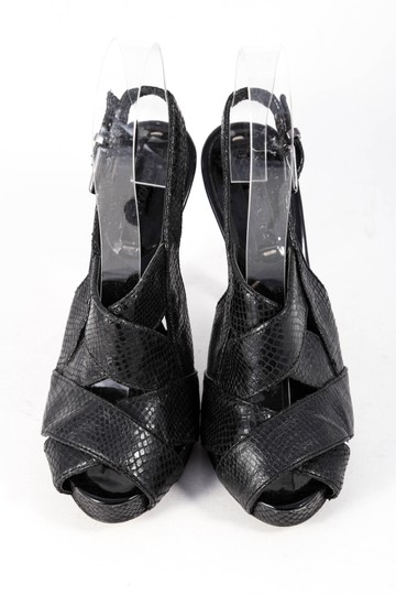 BCBGMAXAZRIA Lizard Skin Leather Slingbacks Strappy Black Sandals