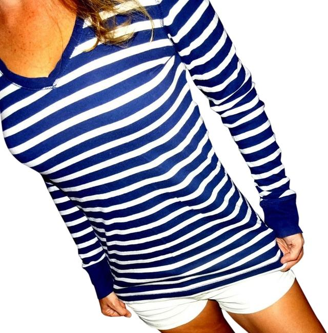 Preload https://img-static.tradesy.com/item/12907294/so-navy-blue-white-stripe-designer-pinstripe-jersey-knit-women-s-crew-shirt-l-tunic-size-12-l-0-2-650-650.jpg